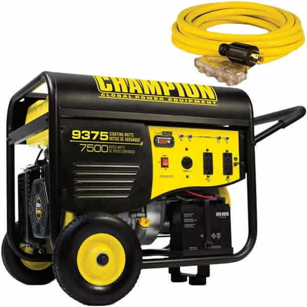 Champion 100219 - 7500 Watt Electric Start Portable Generator w/ 25' 4-Outlet Power Cord