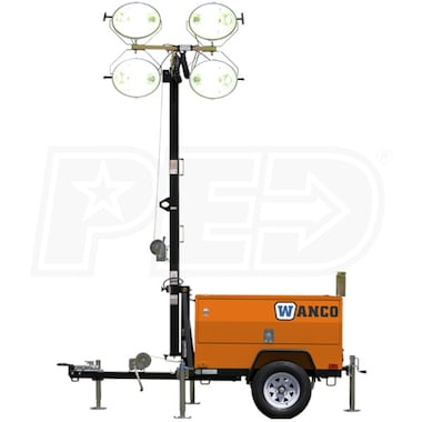 Wanco 6kW Towable Diesel Standard Laydown Light Tower w/ Kubota D-1105 Engine